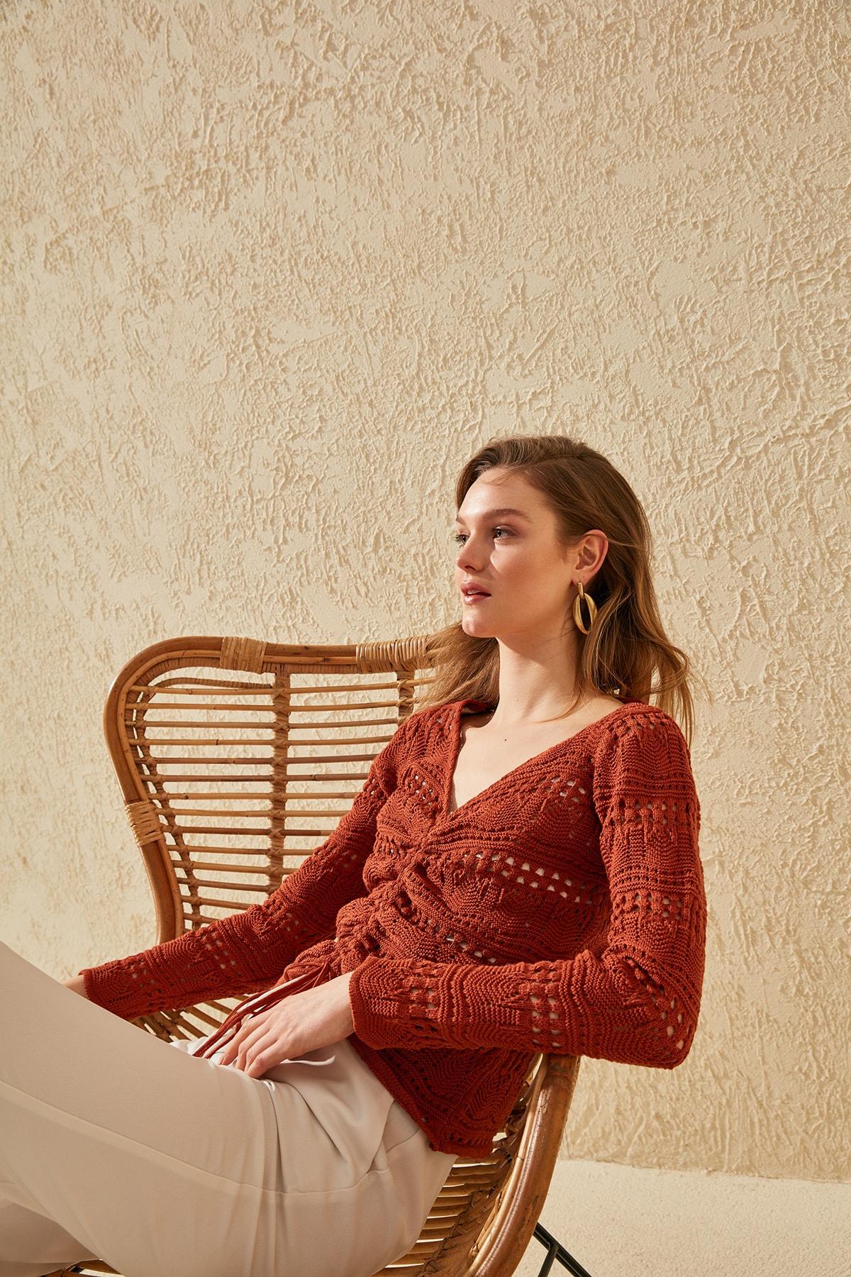 Trendyol celular Shirred suéter de punto TWOSS20KZ0006