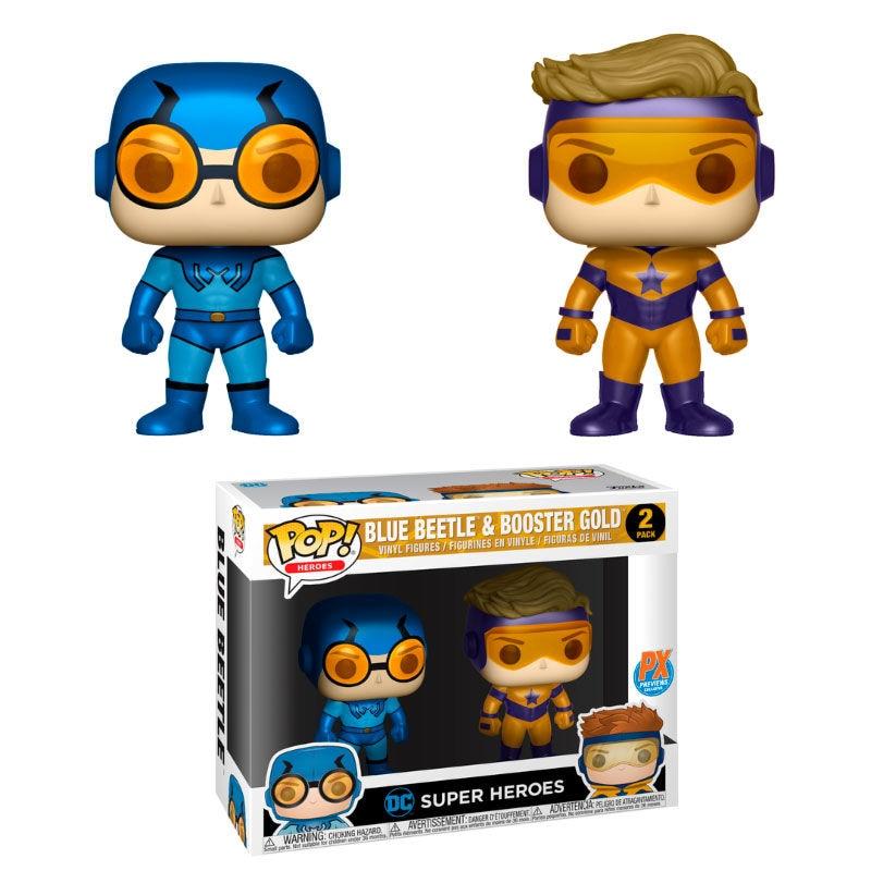 Набор из 2 фигурок POP DC Blue Beetle & Booster, эксклюзивный золотой металлик
