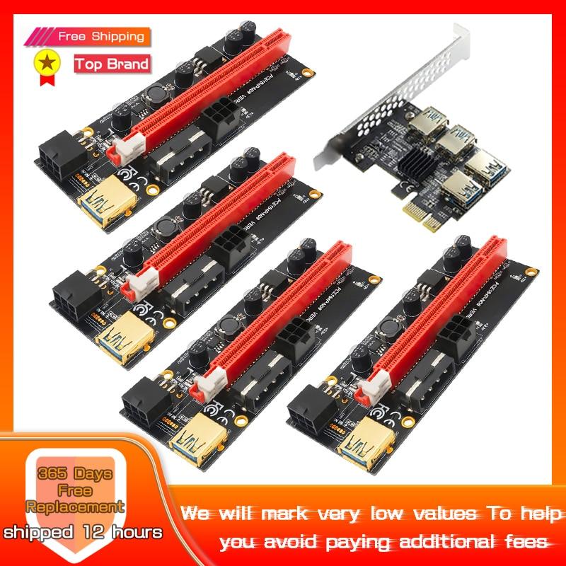 4 قطعة PCI-E Express 1x إلى 16x Riser 009S بطاقة محول PCIE 1 إلى 4 فتحة PCIe ميناء بطاقة مضاعف للتعدين BTC جهاز تعدين بيتكوين