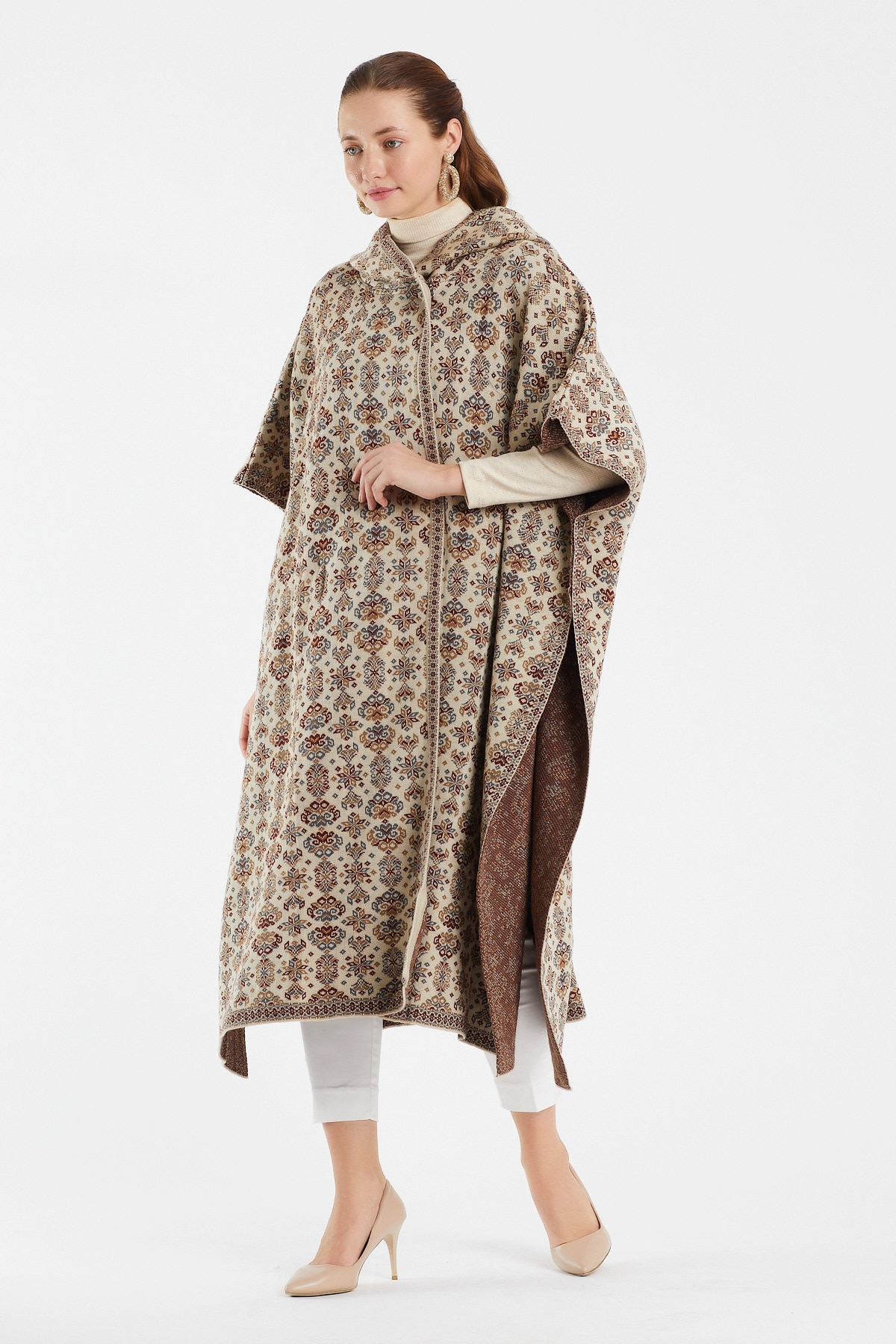 Women's  dress top Shawl Wrap Knitted capes and Poncho –traf bts Oversized hoodie Cardigan  Open Front Tassel Cape for Winter enlarge