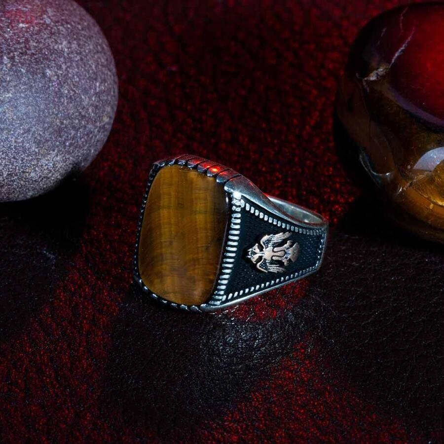 خاتم من الفضة الإسترليني عيار 925 بتصميم عين النمر مرصع بالأحجار الكريمة