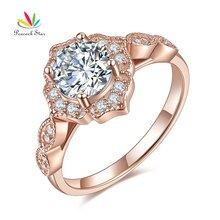 Paon étoile Style Vintage bague solide 925 argent Sterling mariage 1 Ct couleur or Rose CFR8330