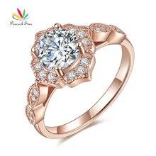 Pfau Stern Vintage Stil Ring Solide 925 Sterling Silber Hochzeit 1 Ct Rose Gold Farbe CFR8330