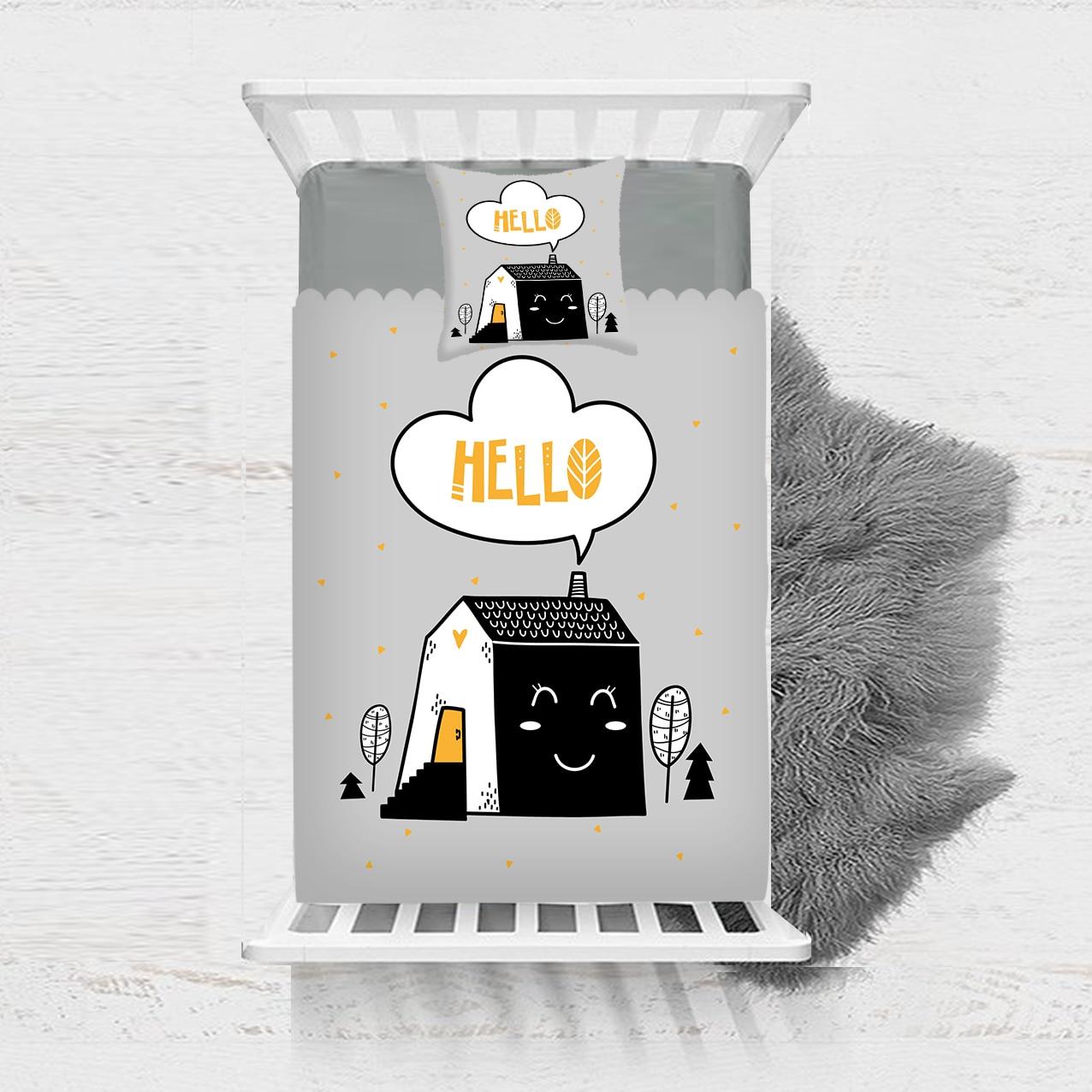 آخر 2 قطعة رمادي أسود أصفر الحلو المنازل الشمال 3D طباعة القطن الحرير واحد المفرش السرير غطاء هدية تتحد وسادة غطاء