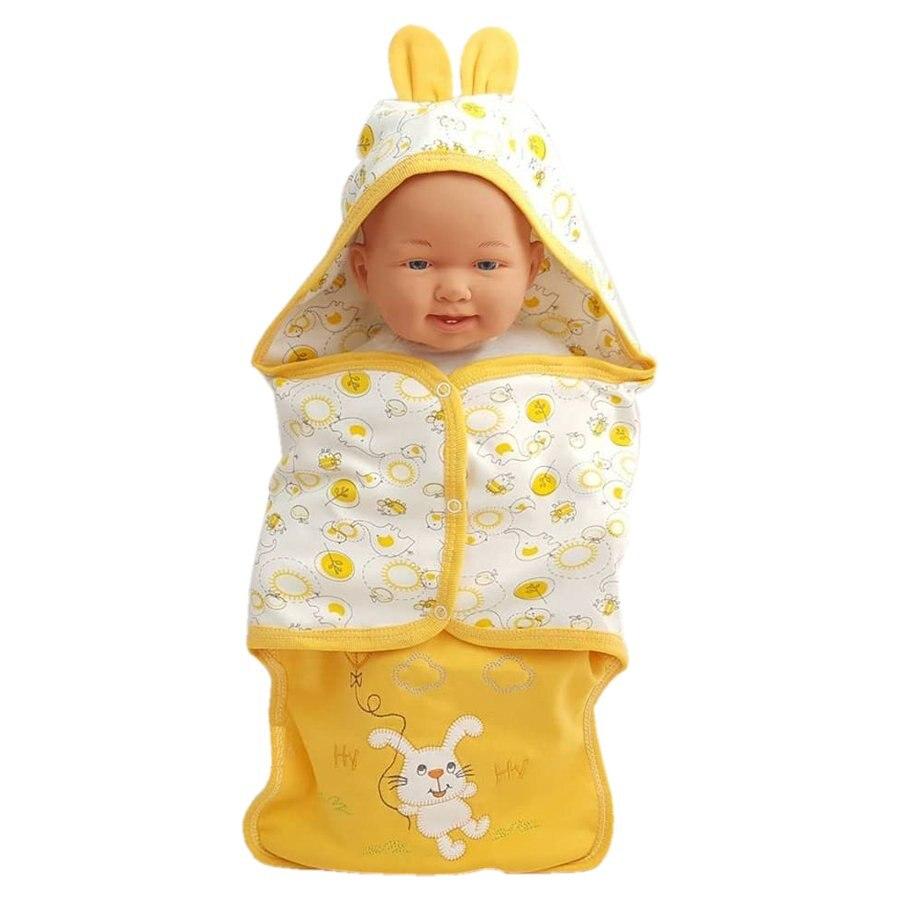 Newborn Swaddle Wrap + Hat Cotton Rabbit Yellow Baby Boy Girl Muslin Blanket Cartoon Cute Infant Sleeping Bag Bath Towel