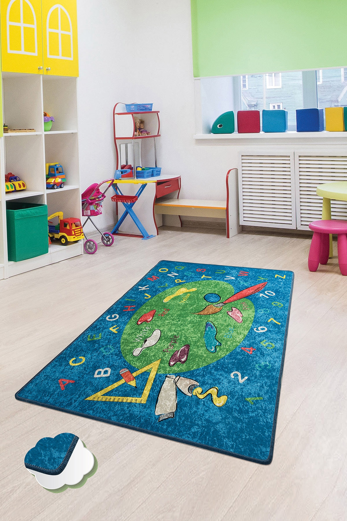 Coloring Kids Bedroom Area Rugs Kids Crawling Playing Mat Childroom Carpet Non-slip Sole