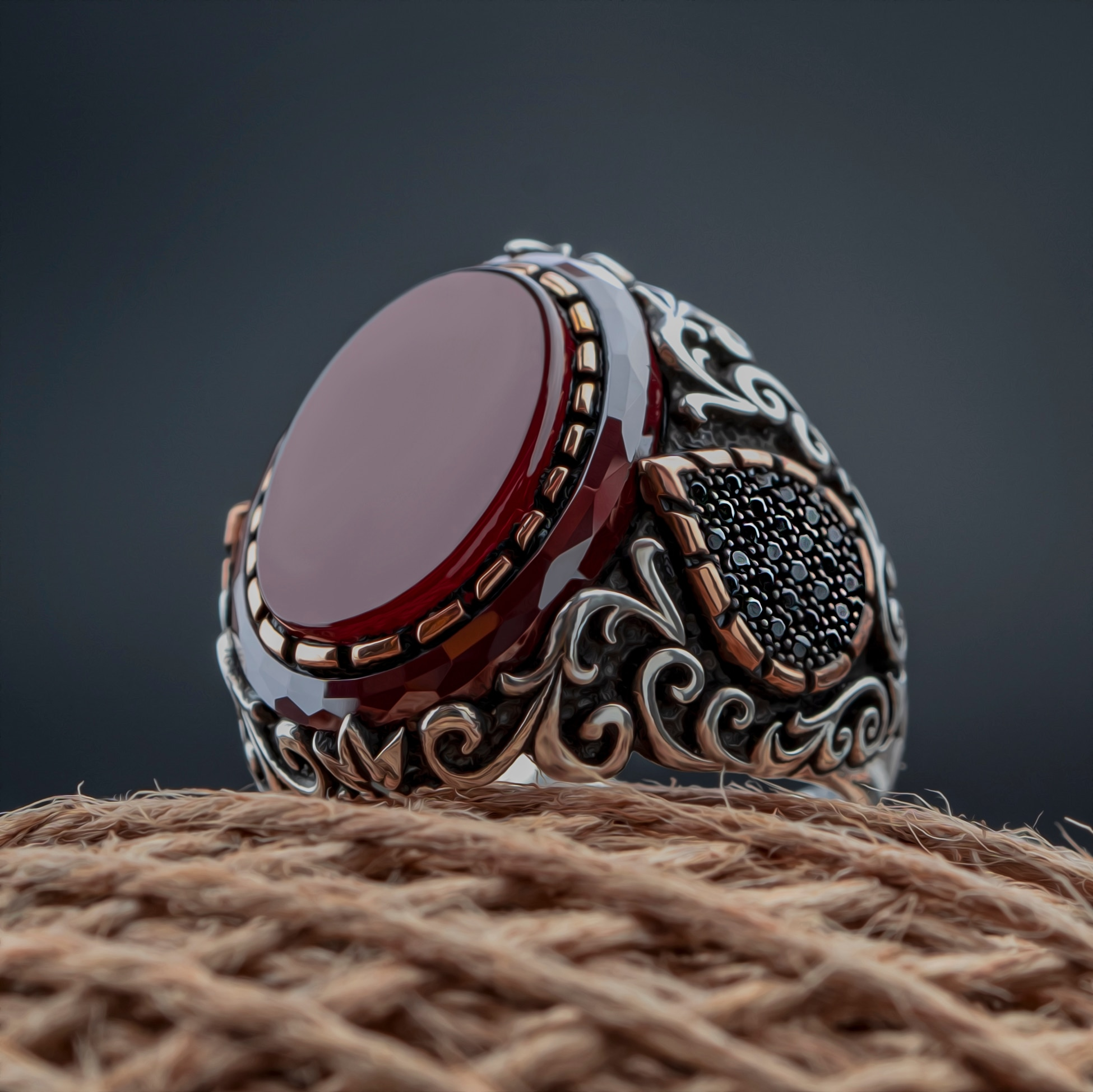 Guaranteed High-quality 925 Sterling Silver ONYX STONE Ring Jewelry Made in Turkey  Beautifully Crafted  for men with gift