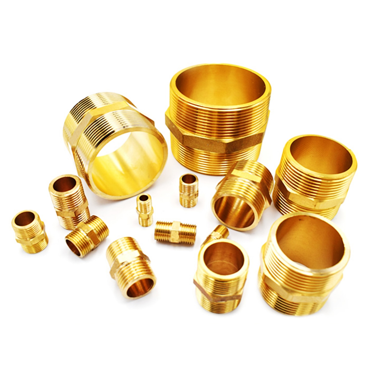 brass pipe hex nipple fitting quick adapter 1 8 1 4 3 8 1 2 3 4 1 bsp male thread water oil and gas connector 1PC Brass Pipe Hex Nipple Fitting 1/8 1/4 3/8 1/2 3/4 1 BSP Male Thread Quick Adapter Coupler Connector for Water Oil Gas