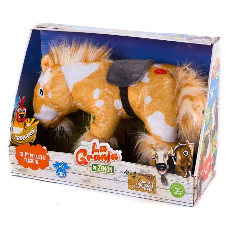 Cavalo de pelúcia musical percheron a fazenda zenon
