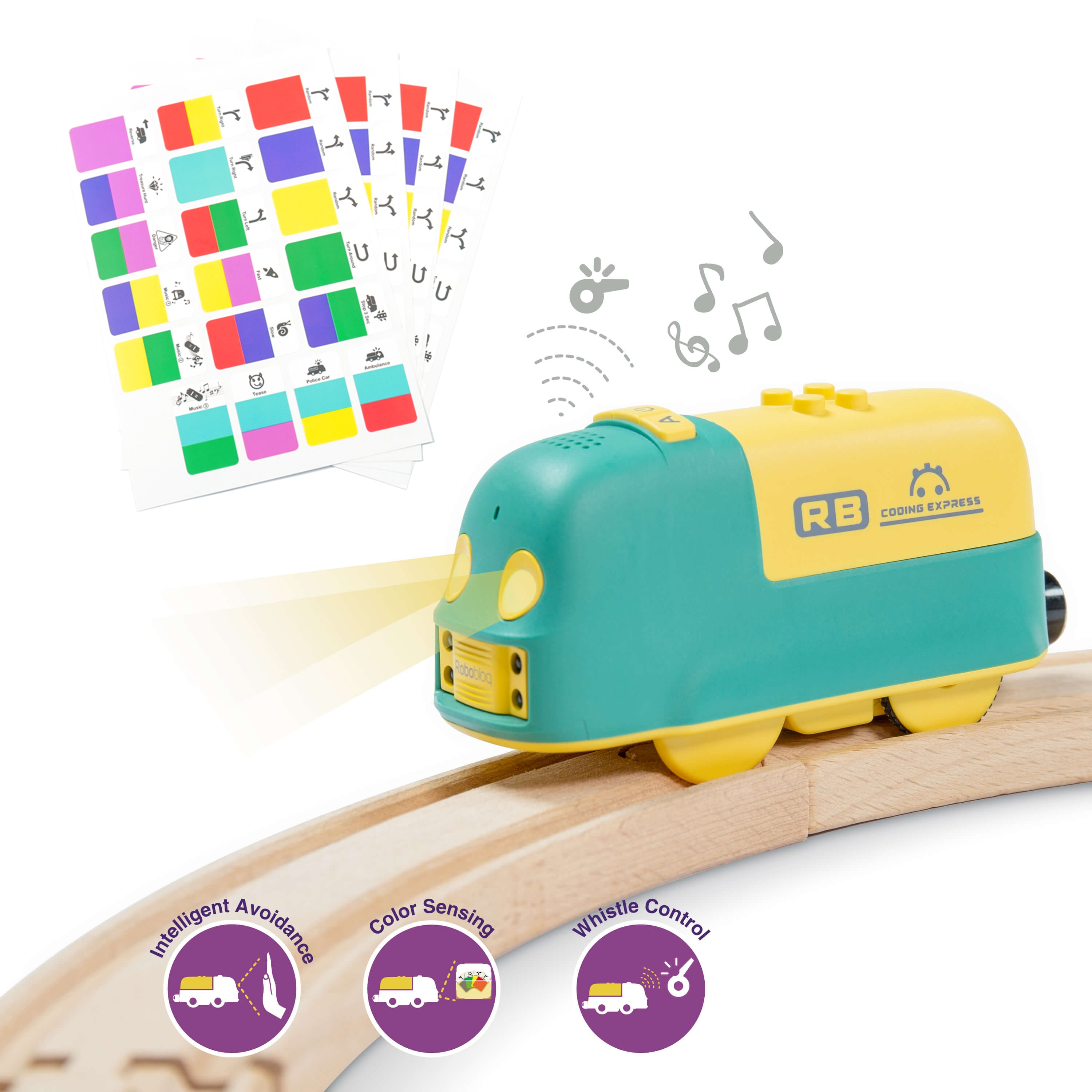 Robobloq STEM Toy Train Set, Smart Train and 24 PCS Wooden Tracks, 22 functions, Educational Toy for Kids, Compatible to Thomas