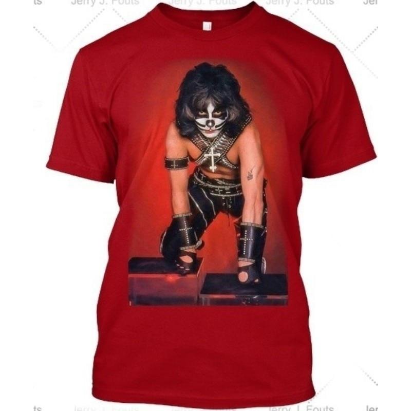 Camisa de camisa tagl camisa de corte de foto do cubo de peter criss 1977