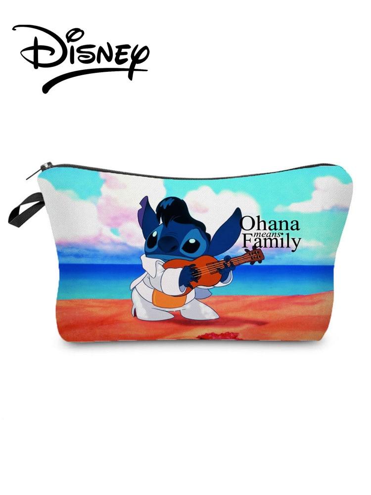 Disney Lilo Stitch Printed Cosmetic Bags Polyester Cartoon Travel Mini Makeup Bag Fashion Women Clut