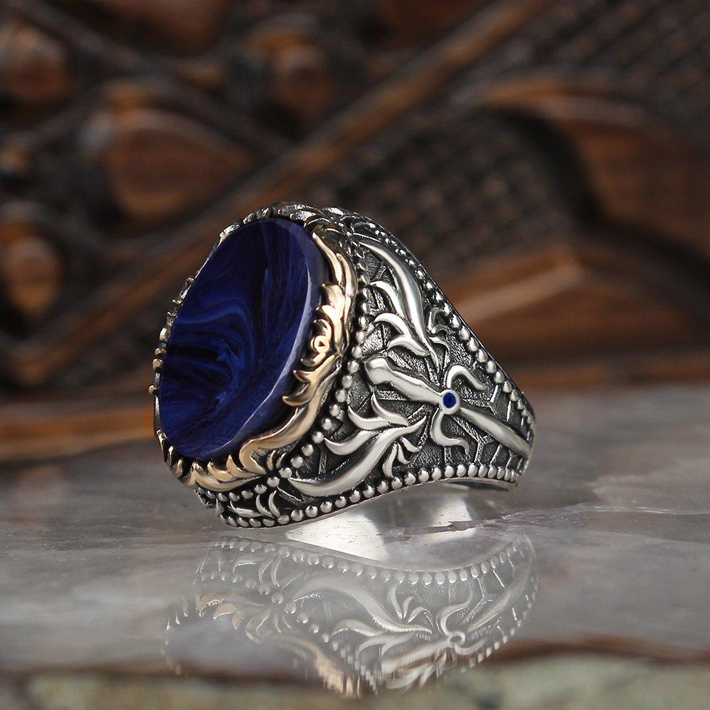 Anillo para hombre, Plata de Ley 925, piedra ámbar, anillos de boda para hombre, anillos de joyería para hombre, anillos para mujer, anillos para hombre, joyería para hombre