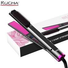Hair Straightener 3 IN1 Flat Irons Straightening Brush Fast Heating Comb Hair Straight Styler Corrug