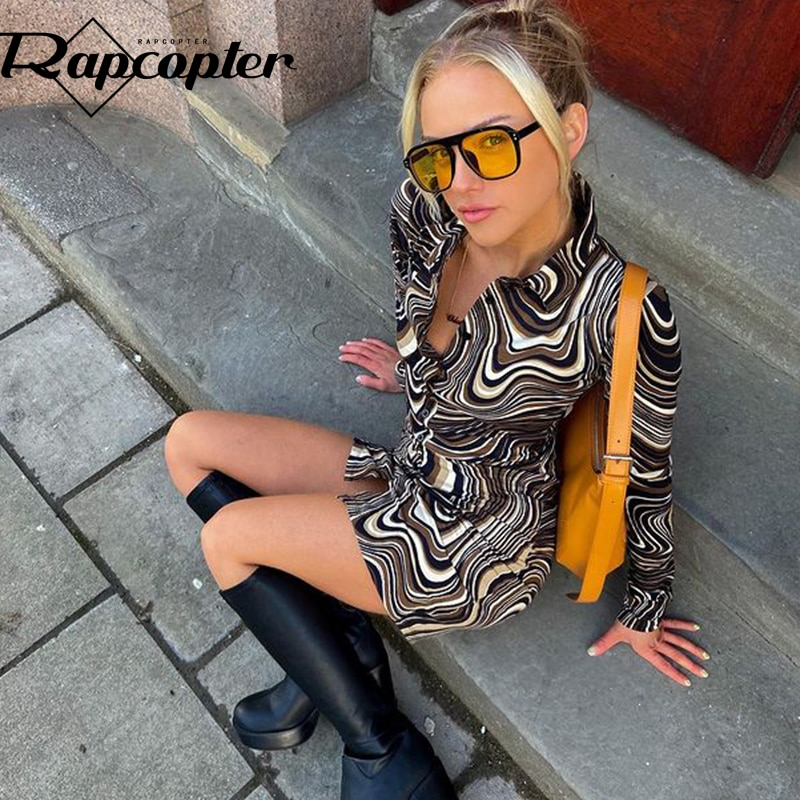 Rapcopter Paisley Brown Mini Dress y2k Aesthetic Sundress Turn Down Collar Vintage Short Dress Button Skinny Bodycon 2021 90S