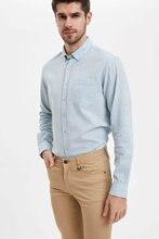 DeFacto Man Long Sleeve Shirt Men Smart Casual Shirts Men Solid Color Shirts Men's shirts Solid Color Shirt-M9437AZ20SM