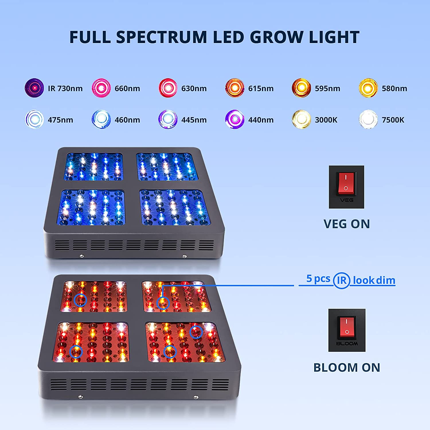ZFR GROW 600W LED Grow Light,with Daisy Chain,Veg and Bloom Switches, Full Spectrum Plant Growing Lights for Indoor Plants V enlarge