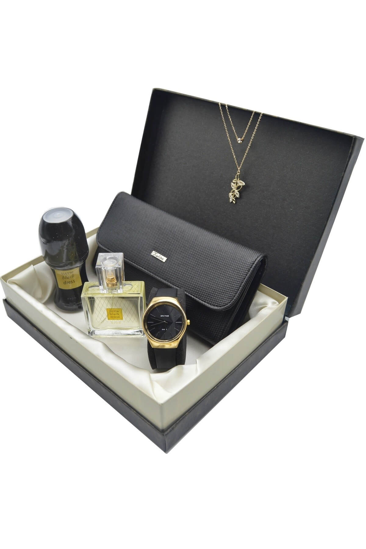 Hediye Seti Siyah - Avon Parfüm - Deri Cüzdan - Saat - Kolye enlarge