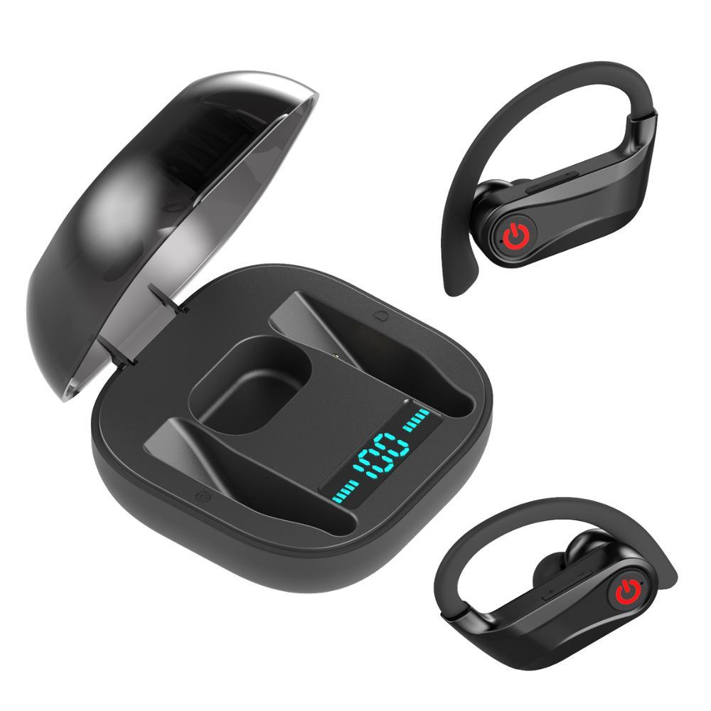Auriculares inalámbricos negros PowerHBQ pro Q62 auriculares deportivos estéreo Bluetooth 5,0 Auriculares resistentes al agua auriculares con doble micrófono