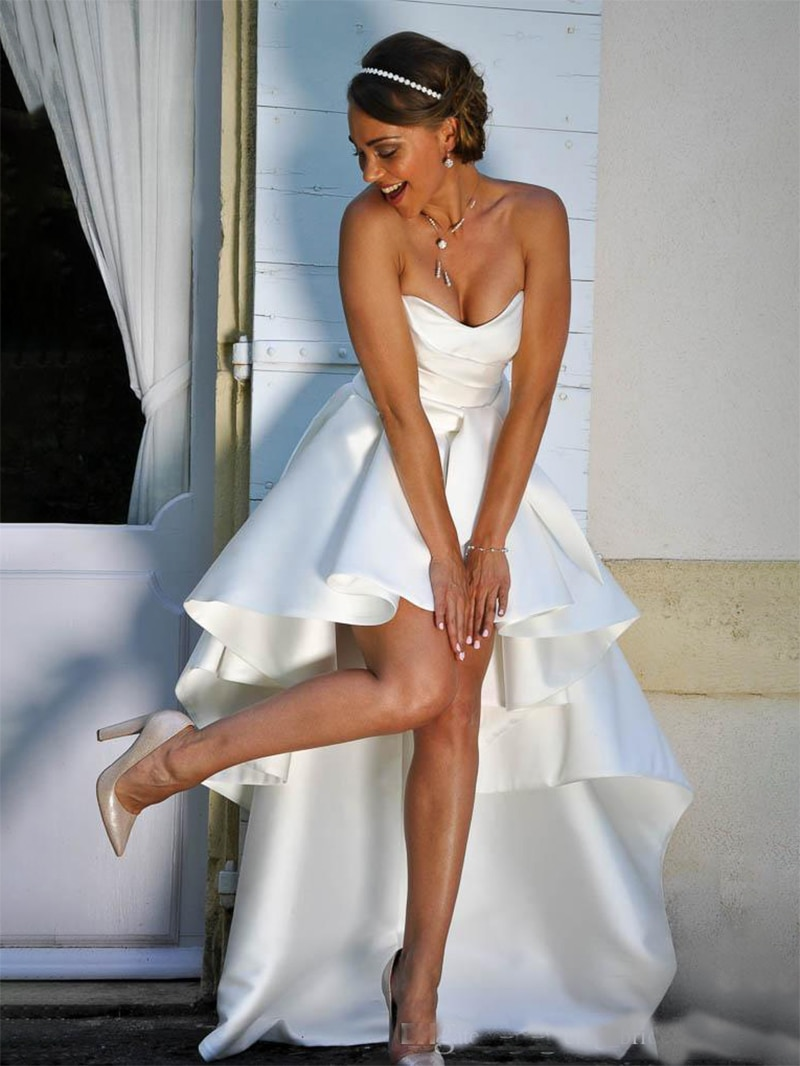 High Low Satin Strapless Wedding Bride Dress Lacing Corset Back Simple Princess Sweetheart Bridal Gown for Guest Plus Size