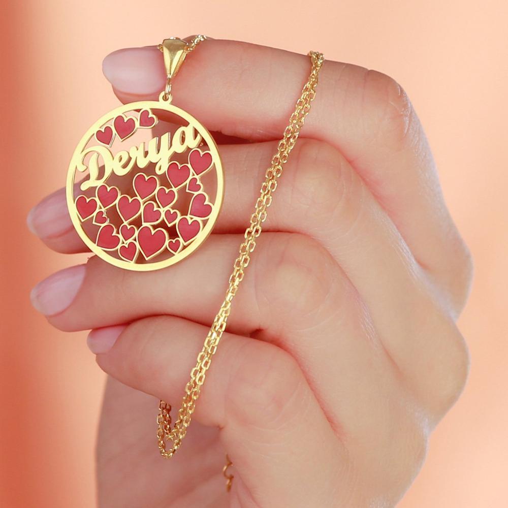Персонализированное имя на заказ красное сердце романтическая Подвеска Серебряные Ювелирные изделия Подарки на день рождения на заказ оже...