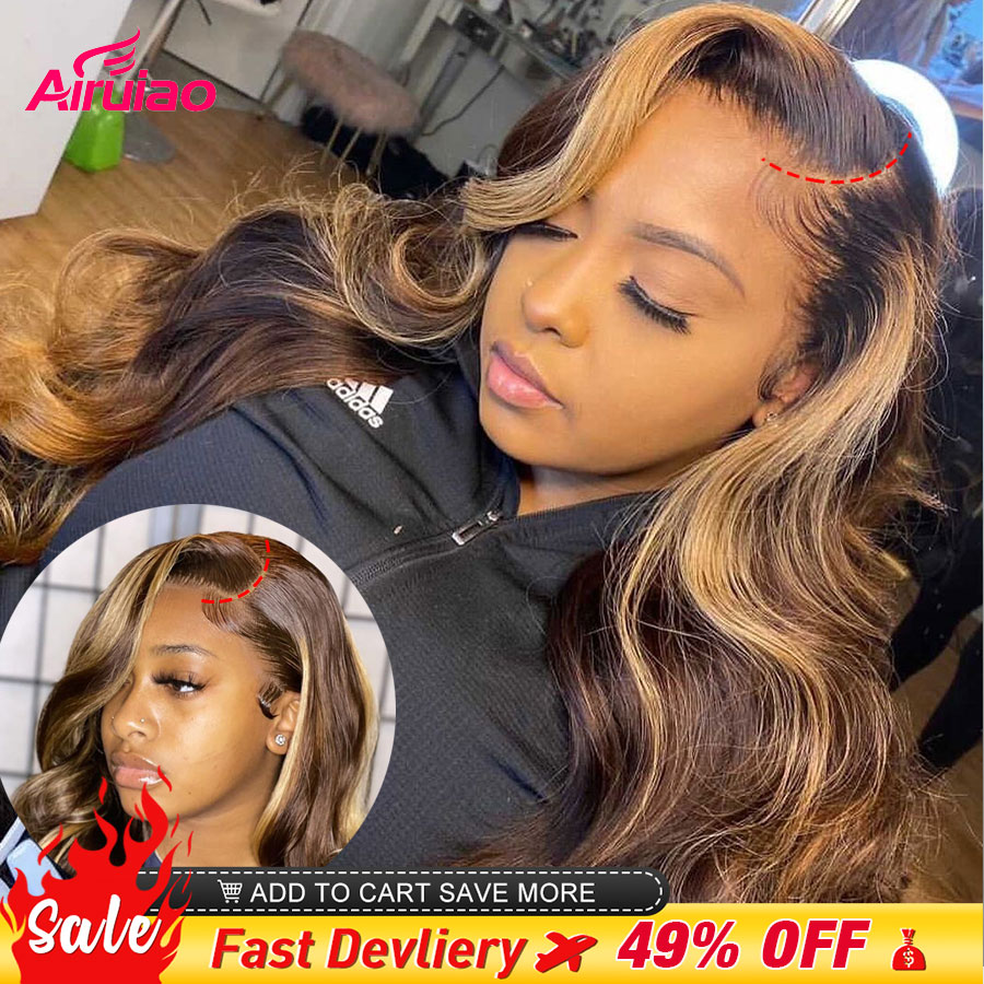 13x6 Highlight Honey Blonde HD Lace Frontal Human Hair Wigs Body Wave Full Colored Ombre 13x4 Lace Front Wig Woman Pre Plucked