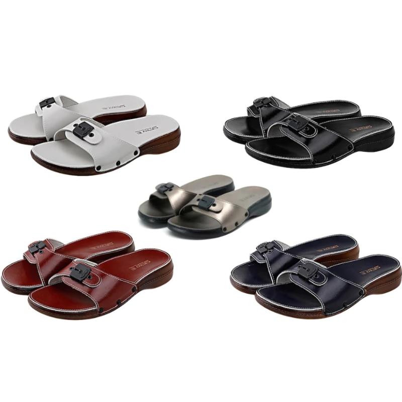 Сандалии женские на плоской подошве, однотонные туфли из искусственной кожи, с одной пряжкой, повседневные, для улицы и дома, для взрослых, 5 ...