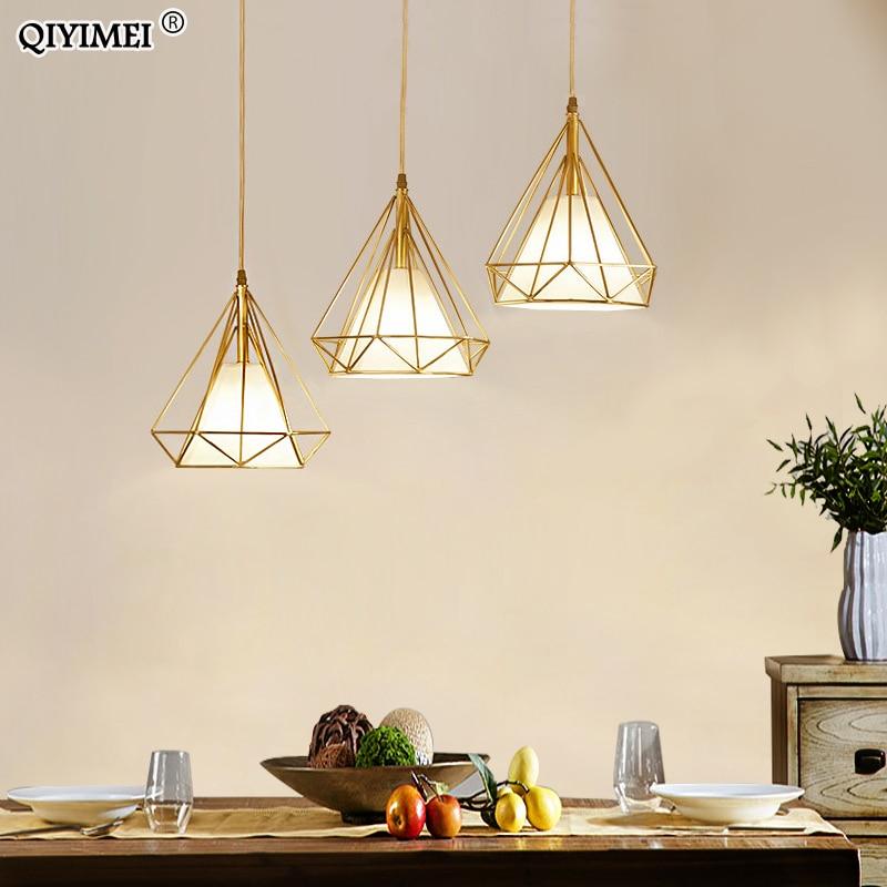 الذهب اللون قلادة أضواء مثلث الشكل الشمال نمط 1 رئيس/3 رؤساء مصباح معلق بسيط المعادن أضواء تركيبات ديكو Abajur