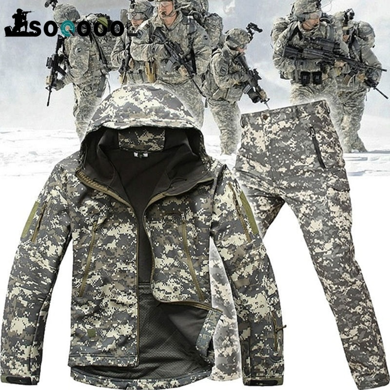 SOQOOOL Tactical Softshell Camouflage Jacket Set Army Windbreaker Waterproof Hunting Clothes Military Uniform Jackets and Pants outdoor m65 tactical airsoft jacket suits camouflage jacket set men army hunting jackets military waterproof jacket windbreaker