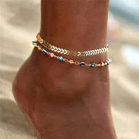 awh bohemian colorful eye beads anklets for women gold color summer ocean beach ankle bracelet foot leg chain jewelry 2021 new