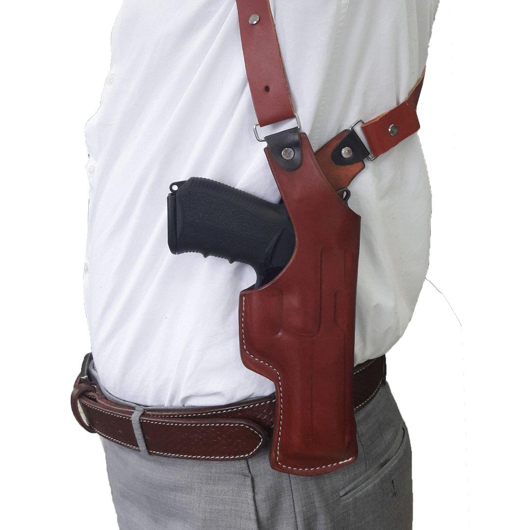 "YT HOBBY S & W 357 CAL (4 "") pistolera de hombro hecha a mano cuero Real oculta llevar axila Vertical pistola pistolera bolsa"