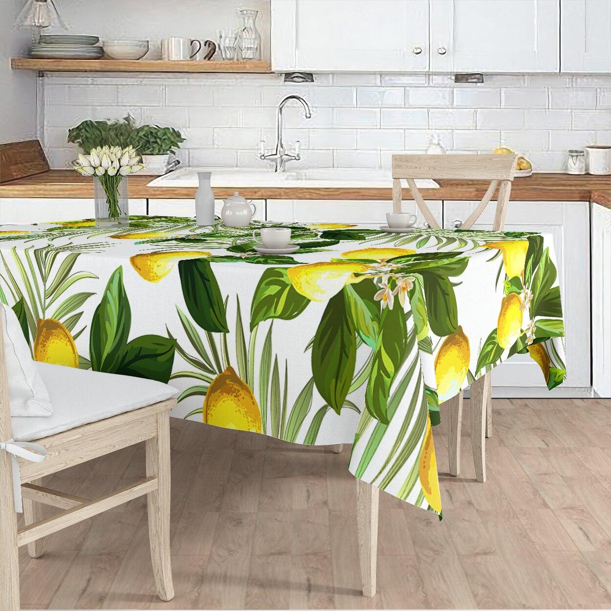 مفرش المائدة غرفة المعيشة المطبخ الأبيض الليمون ورقة الأصفر الأخضر منقوشة مايكرو غطاء من القماش عداء نمط شحن مجاني