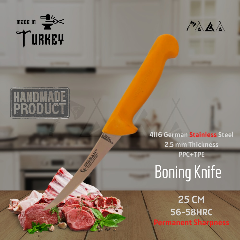 ATASAN سلسلة الذهب منحني العظام تجريد سكين سكاكين المطبخ اليدوية عالية الجودة المهنية الفولاذ المقاوم للصدأ اللحوم