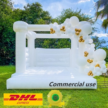 10ft/13ft/16ft  Pastel Jumping Bocuncy Castle Inflatable Bouncer Wedding Bouncer White Bounce House with Blower