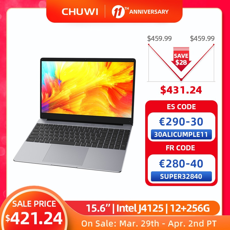 CHUWI HeroBook Plus 15.6 inch Laptop LPDDR4X 12GB 256G SSD Intel Celeron J4125 Quad Core Windows 10 NoteBook RJ45