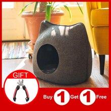 Tragbare Katze Form Pet Bett Katze Cave Schlafsack Zipper Ei Form Fühlte Tuch Pet Haus Nest Katze Korb mit kissen