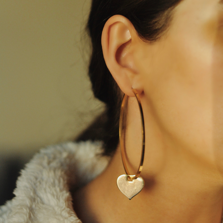 GULCE DERELI-أقراط على شكل قلب ، أقراط دائرية ، أقراط ساحرة ، علبة هدايا ، مطلية بالذهب والفضة