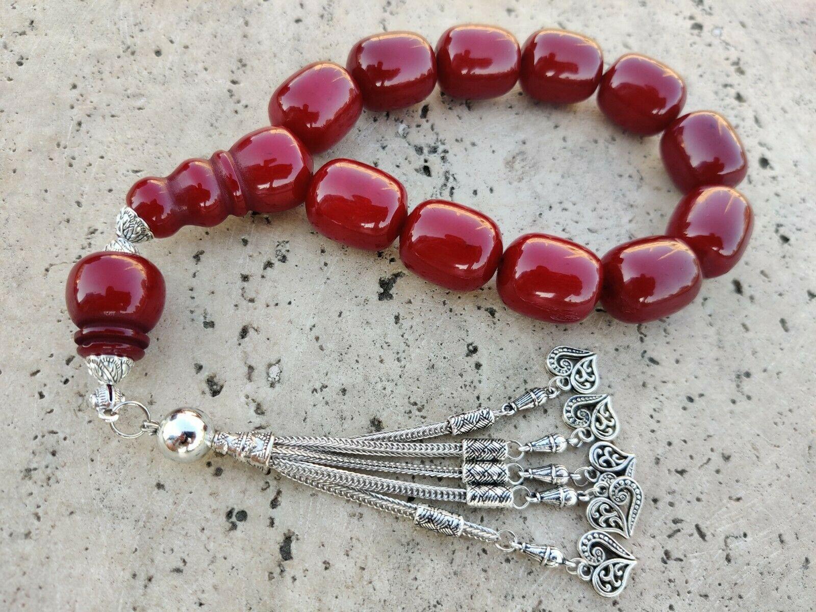 Ottoman Faturan German Amber Sandalous Misbaha Prayer Beads Islamic Gift Tasbih Tasbeeh Tasbeh Rosary Tasbih # 26C