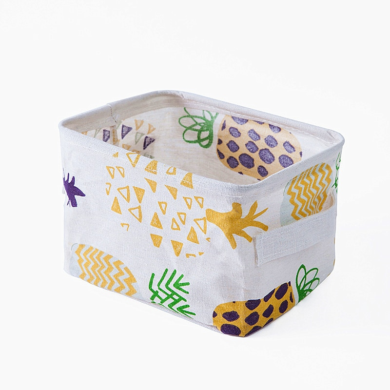 Colorful Desktop Storage Basket High Quality Cotton Linen Underwear Clothing Organizer Case Sundries Storage Box Hot Sell Cactus