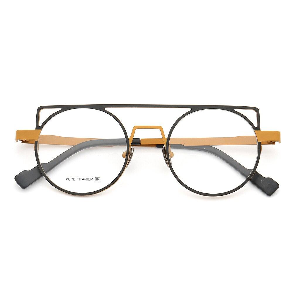 إطار نظارة عين القطة للنساء والرجال ، إطار دائري من التيتانيوم الخالص ، معدن خفيف الوزن ، عصري ، إطارات نظارات طبية Rx