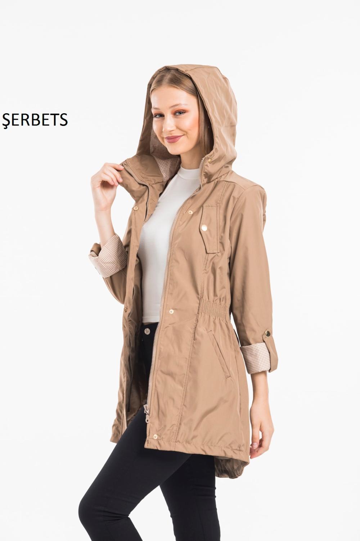 Scherbets-معطف فرو نسائي ، معطف واق من المطر ، قطيفة بغطاء للرأس ، على الطراز الكوري ، 2020