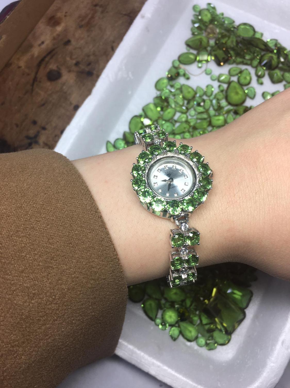 Handmade Zultanite Silver Quartz Watch for Women , Color Changing Zultanite Watch, Silver Handmade Zultanite Watch enlarge