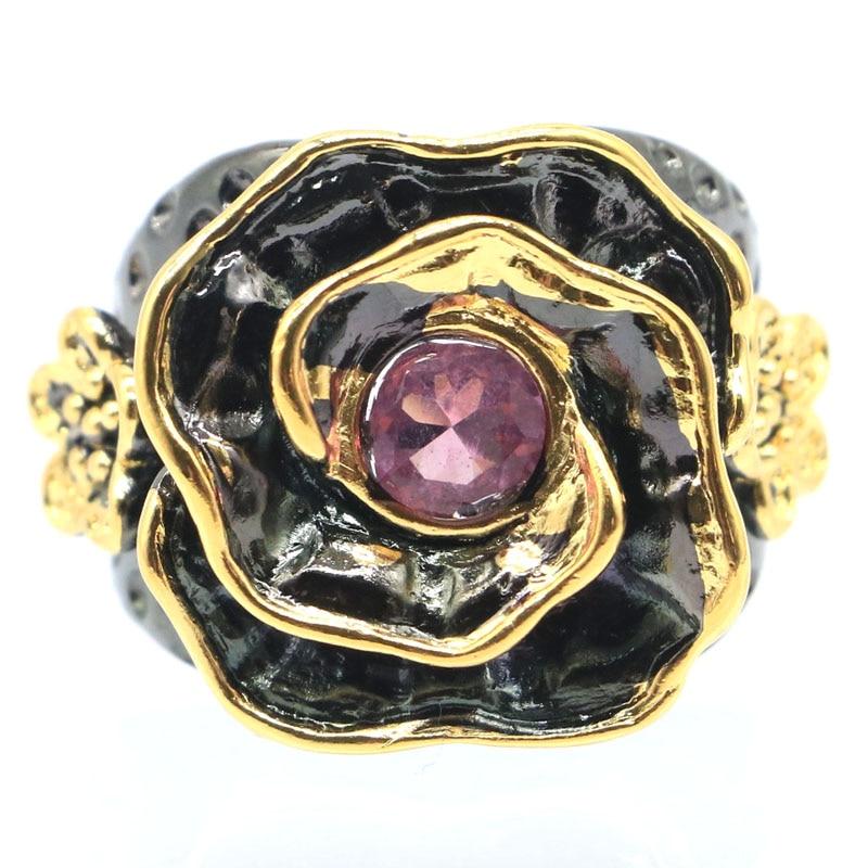 20x20mm Sublime Antique 18g Rose forme créé Rose Morganite cadeau pour dames noir or argent anneaux
