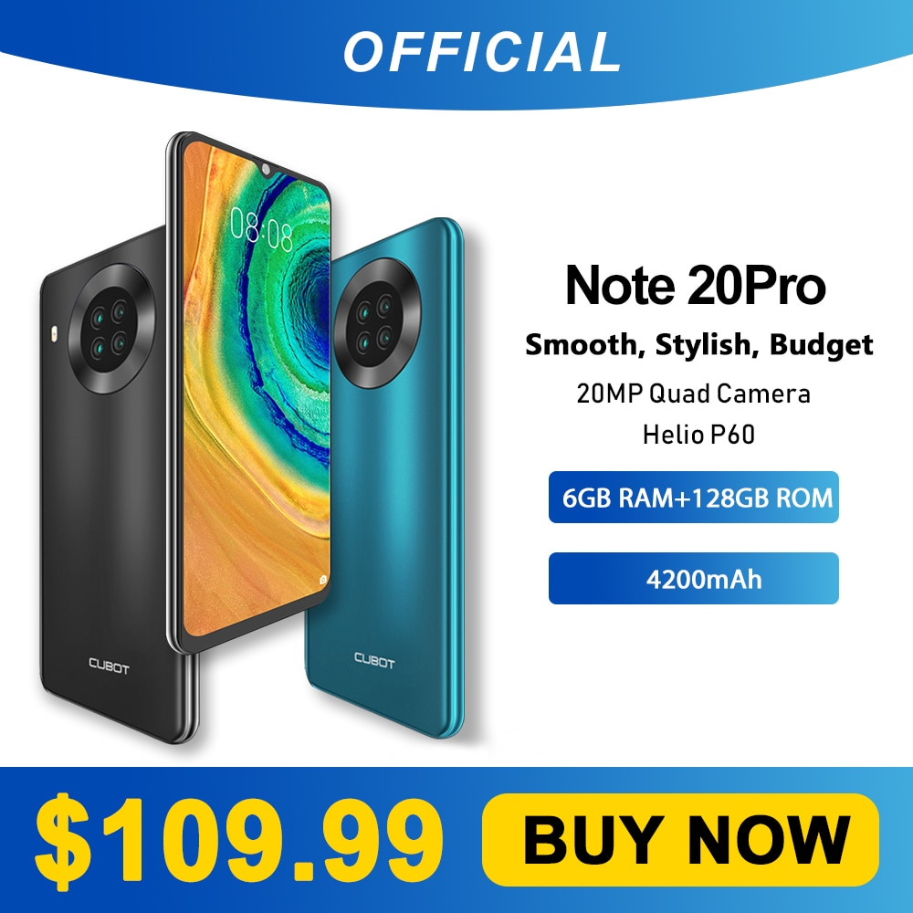 "Cubot Note 20 Pro Quad Camera Smartphone NFC 6GB/8GB+128GB 6.5"" 4200mAh Android 10 Dual SIM Telephone 4G LTE celular Note20 Pro"