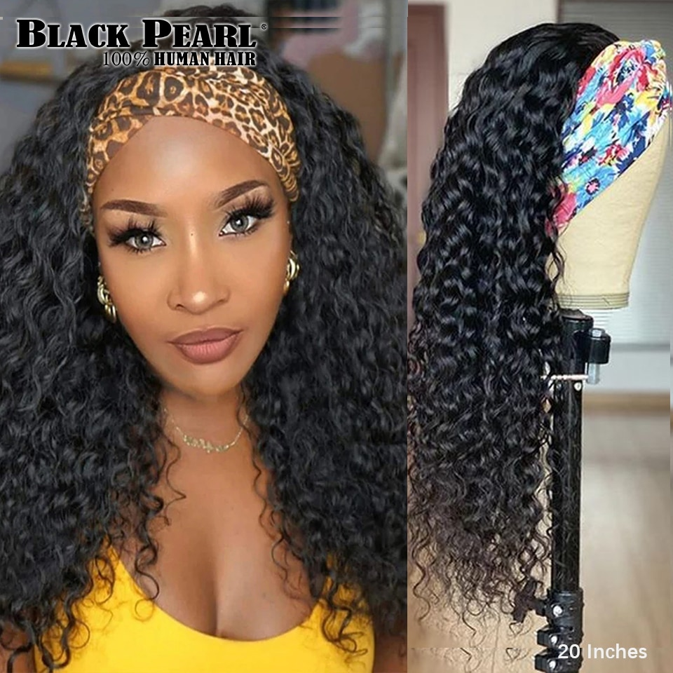 Black Pearl Kinky Curly Headband Wig Human Hair Wig Human Remy Hair Scarf Wig Glueless Deep Curly Wig Headbands For Women