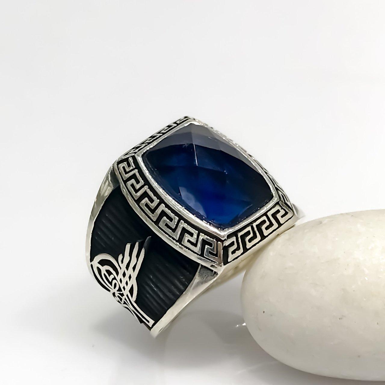 Sapphire Stone Simple Polite Monogram Sterling Silver Men 'S Ring