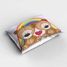 Taies doreiller Rectangle de coeurs en arc-en-ciel   Brun mignon ours en ciel, taies doreiller modernes pour enfants, couvre-oreiller à impression numérique 3d, canapé et lit longue