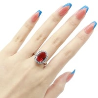18x15mm shecrown lovely cute 4 7g created red blood ruby white cz ladies daily wear 925 sterling silver rings