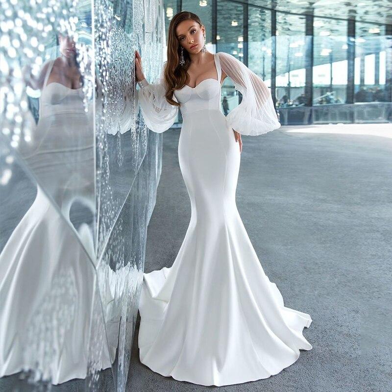 Satin Mermaid Sweetheart Wedding Dress Bodycon Slim Long Pleated Sleeve Hollow Bridal Gowns Zipper Plus Sizes Vestido De Noiva
