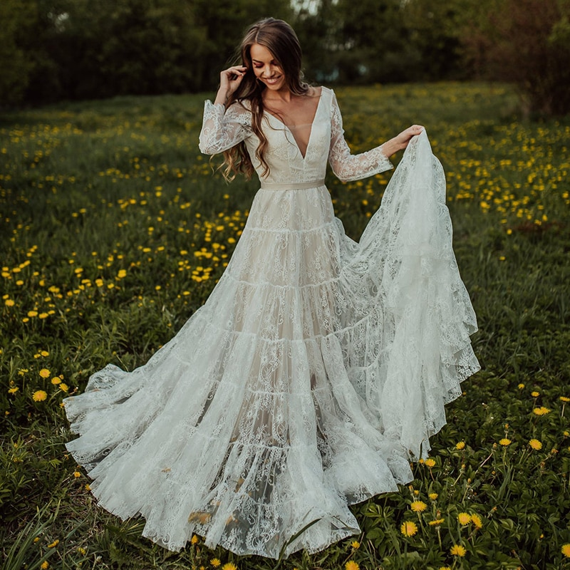 Review Tiered Lace Boho Long Sleeves Wedding Dress Open Back Deep V-Neck Ribbon Tulle Garden Beach A Line Nude 2021 Bridal Gowns 10152